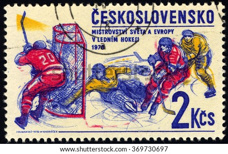 CZECHOSLOVAKIA - CIRCA 1978: A stamp printed in Czechoslovakia shows Ice Hockey, circa 1978 - stock photo