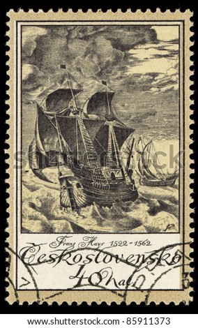 CZECHOSLOVAKIA - CIRCA 1976: A stamp printed in Czechoslovakia shows image of a sailing ship, circa 1976 - stock photo