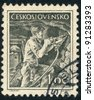 CZECHOSLOVAKIA - CIRCA 1954: A stamp printed in Czechoslovakia, shows Miner with jackhammer, series, circa 1954 - stock photo