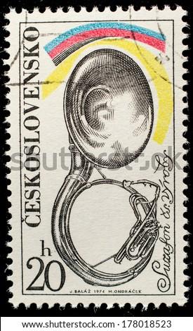 CZECHOSLOVAKIA - CIRCA 1974: A stamp printed in Czechoslovakia, shows Musical instrument trombone, circa 1974  - stock photo