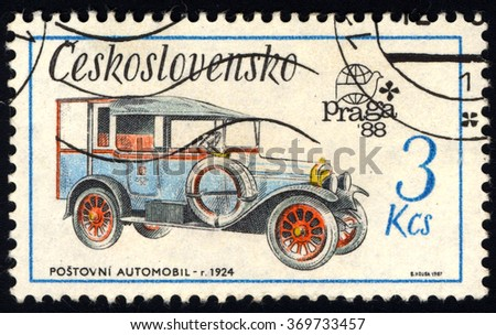 CZECHOSLOVAKIA - CIRCA 1987: A stamp printed in Czechoslovakia shows Old-Time Classical Car - Zip Car 1924, Historic Motor Cars series, circa 1987 - stock photo