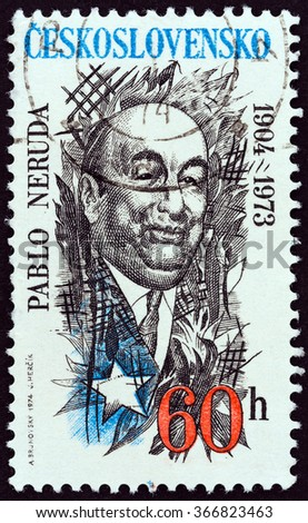 CZECHOSLOVAKIA - CIRCA 1974: A stamp printed in Czechoslovakia shows Pablo Neruda, Chilean poet, 70th birth anniversary, circa 1974.  - stock photo