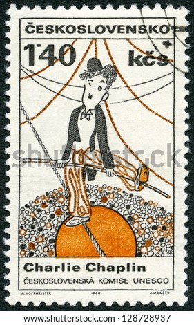 CZECHOSLOVAKIA - CIRCA 1968: A stamp printed in Czechoslovakia shows portrait of Charlie Chaplin (1889-1977), series Cultural personalities of the 20th centenary and UNESCO, circa 1968 - stock photo