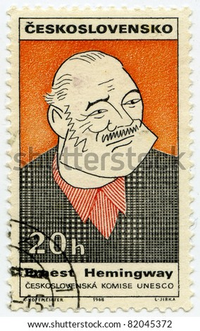 CZECHOSLOVAKIA - CIRCA 1968: A stamp printed in Czechoslovakia, shows portrait of the American writer Ernest Miller Hemingway, circa 1968 - stock photo
