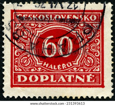 CZECHOSLOVAKIA - CIRCA 1954: A stamp printed in Czechoslovakia shows postage stamp with the number 20 crowns, circa 1954 - stock photo