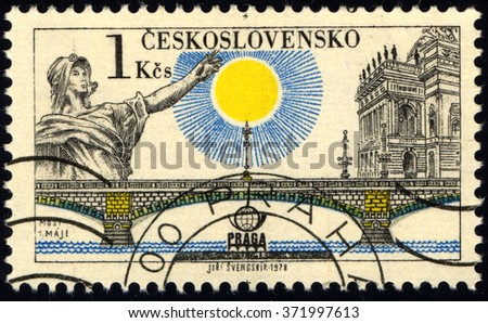 CZECHOSLOVAKIA - CIRCA 1978: A stamp printed in Czechoslovakia shows Prague Bridges and Praga 78 emblem: Bridge of May, circa 1978 - stock photo