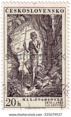 CZECHOSLOVAKIA - CIRCA 1973: A stamp printed in Czechoslovakia, shows St. John, the Baptist, by Max Svabinsky, circa 1973 - stock photo