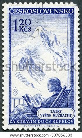 CZECHOSLOVAKIA - CIRCA 1956: A stamp printed in Czechoslovakia shows Tatry Vysne Ruzbachy (Tatra Mountains), series Various Spas, circa 1956 - stock photo