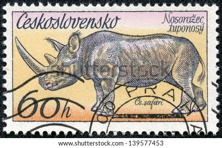"CZECHOSLOVAKIA - CIRCA 1976: A Stamp printed in Czechoslovakia shows the image of the Rhinoceros from the series ""African animals in Dvur Kralove Zoo"", circa 1976 - stock photo"