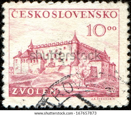 CZECHOSLOVAKIA - CIRCA 1949: A stamp printed in Czechoslovakia shows the Zvolen is a town in central Slovakia, circa 1949  - stock photo
