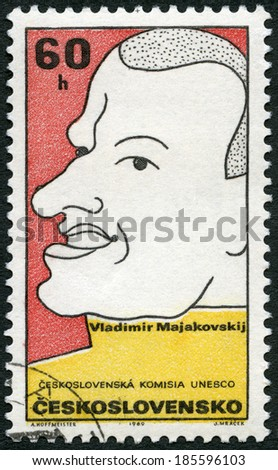 CZECHOSLOVAKIA - CIRCA 1969: A stamp printed in Czechoslovakia shows Vladimir Mayakovsky (1893-1930), Russian poet, series Cultural personalities of the 20th centenary and UNESCO, circa 1969  - stock photo