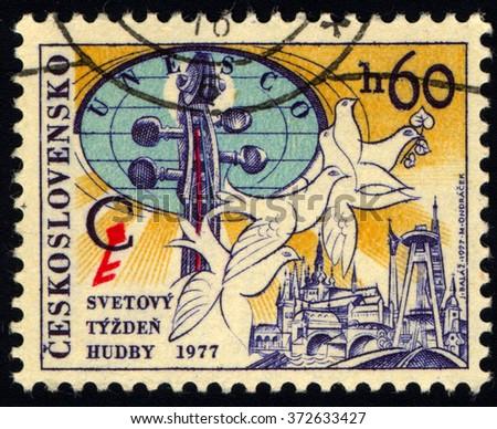 CZECHOSLOVAKIA - CIRCA 1977: A stamp printed in Czechoslovakia to commemorate the Congress of UNESCO International Music Council, circa 1977 - stock photo