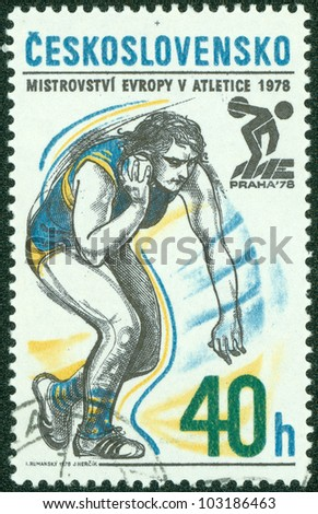 CZECHOSLOVAKIA - CIRCA 1978: A stamp printed in the Czechoslovakia, dedicated 5th European Athletic Championships, Prague, shows Shot put, circa 1978 - stock photo