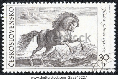 Czechoslovakia - CIRCA; a stamp printed in the Czechoslovakia shows a picture of artist Hendrik Goltzius. Beautiful horse, circa 1969 - stock photo