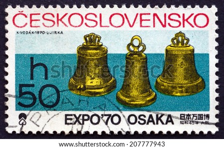 CZECHOSLOVAKIA - CIRCA 1970: a stamp printed in the Czechoslovakia shows Bells, EXPO 70 International Exhibition, Osaka, Japan, circa 1970 - stock photo