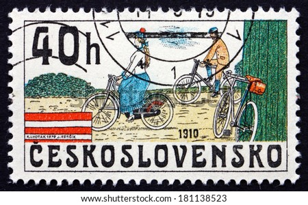 CZECHOSLOVAKIA - CIRCA 1979: a stamp printed in the Czechoslovakia shows Bicycles from 1910, circa 1979 - stock photo