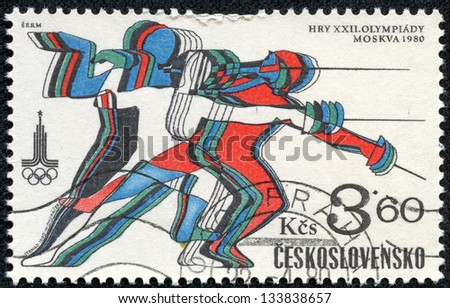 CZECHOSLOVAKIA - CIRCA 1980: a stamp printed in the Czechoslovakia shows Fencing, 22nd Olympic Games, Moscow, circa 1980 - stock photo
