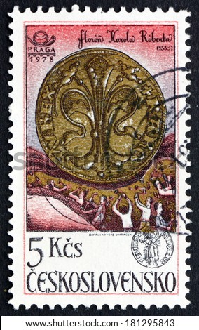 CZECHOSLOVAKIA - CIRCA 1978: a stamp printed in the Czechoslovakia shows Gold Florin, 1335, 650th Anniversary of Kremnica Mint, circa 1978 - stock photo