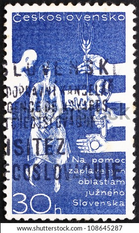 CZECHOSLOVAKIA - CIRCA 1965: a stamp printed in the Czechoslovakia shows Help for Danube Flood Victims in Slovakia, circa 1965 - stock photo