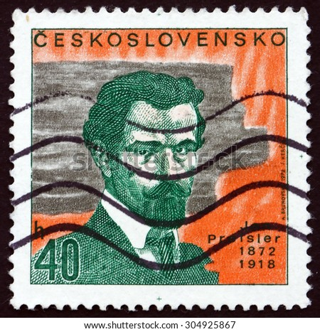 CZECHOSLOVAKIA - CIRCA 1972: a stamp printed in the Czechoslovakia shows Jan Preisler, Czech Painter and Art Professor, circa 1972 - stock photo