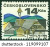 CZECHOSLOVAKIA - CIRCA 1971: A stamp printed in the Czechoslovakia, shows Old houses, circa 1971 - stock photo