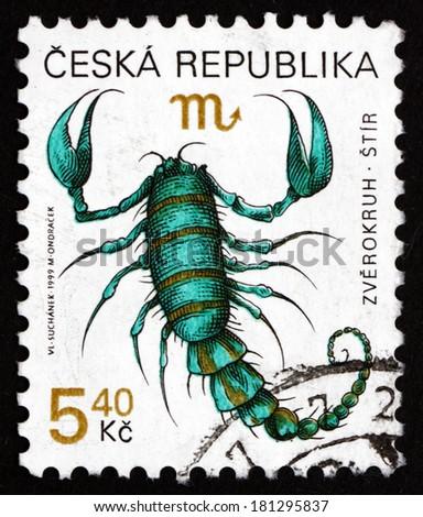 CZECHOSLOVAKIA - CIRCA 1999: a stamp printed in the Czechoslovakia shows Scorpio, Sign of the Zodiac, circa 1999 - stock photo