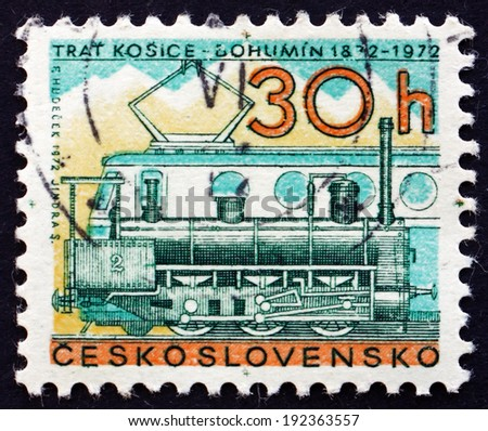 CZECHOSLOVAKIA - CIRCA 1972: a stamp printed in the Czechoslovakia shows Steam and Diesel Locomotives, Centenary of the Kosice-Bohumin Railroad, circa 1972 - stock photo