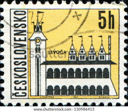 CZECHOSLOVAKIA - CIRCA 1965: A stamp printed in the Czechoslovakia, shows the city of Levoca, circa 1965 - stock photo