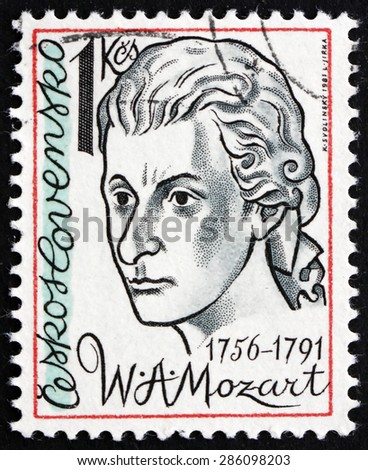 CZECHOSLOVAKIA - CIRCA 1981: a stamp printed in the Czechoslovakia shows Wolfgang Amadeus Mozart, Composer, circa 1981 - stock photo