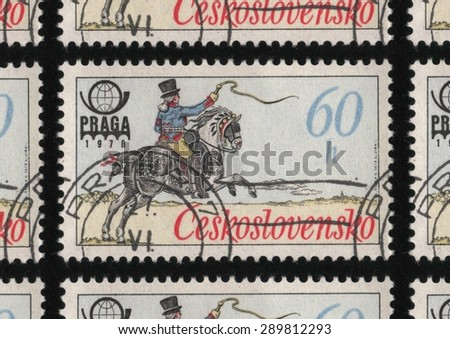 CZECHOSLOVAKIA - CIRCA 1977: A used postage stamp printed in Czechoslovakia from the â??PRAGA 78 International Stamp Exhibition - Historic Post Uniformsâ? issue, shows postal worker on a horse.  - stock photo