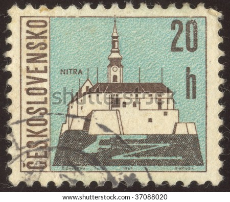 CZECHOSLOVAKIA - CIRCA 1965:  Nitra is a city in western Slovakia, situated at the foot of Zobor Mountain in the valley of the river Nitra, circa 1965 - stock photo