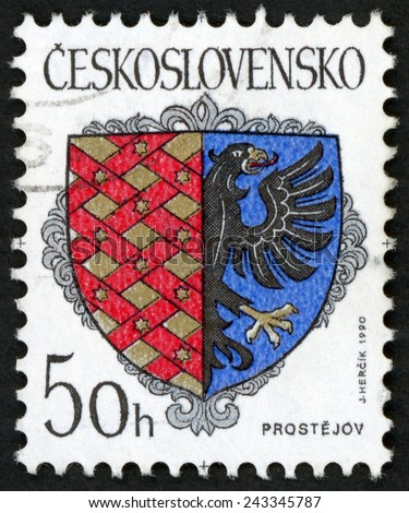 CZECHOSLOVAKIA - CIRCA 1990: post stamp printed in Ceskoslovensko (Czech) shows coat of arms of regional capitals; city Prostejov; eagle on shield; Scott 2783 A847 50h red blue, circa 1990 - stock photo