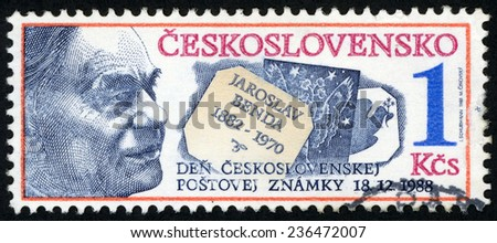 CZECHOSLOVAKIA - CIRCA 1988: post stamp printed in Ceskoslovensko (Czech) shows Jaroslav Benda (1882-1970) illustrator and stamp designer; stamp day 18. 12. 1988; Scott 2724 A978 1k; circa 1988 - stock photo