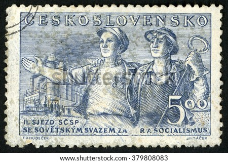CZECHOSLOVAKIA - CIRCA 1950: post stamp printed in Ceskoslovensko shows Czech and Soviet steel workers; 2nd meeting of union Czechoslovak soviet friendship; Scott 437 A166 5k blue, circa 1950 - stock photo