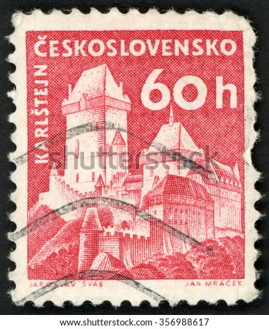 CZECHOSLOVAKIA - CIRCA 1960: post stamp printed in Czech (Ceskoslovensko) shows gothic Karlstejn (Karlstein) castle; Scott 975 A382 60h red; circa 1960 - stock photo