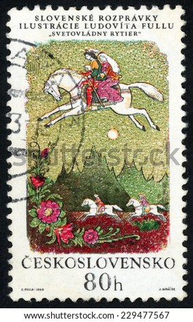 CZECHOSLOVAKIA - CIRCA 1968: post stamp printed in Czech (Ceskoslovensko) shows illustration of Slovak fairy tale ruling knight by Ludovit Fulla; couple on white horse; Scott 1596 A595 80h, circa 1968 - stock photo