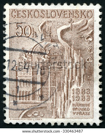 CZECHOSLOVAKIA - CIRCA 1983: post stamp printed in Czech (Ceskoslovensko) shows national theater building Prague, centenary (1883-1983); Scott 2480 A879 50h brown; circa 1983 - stock photo