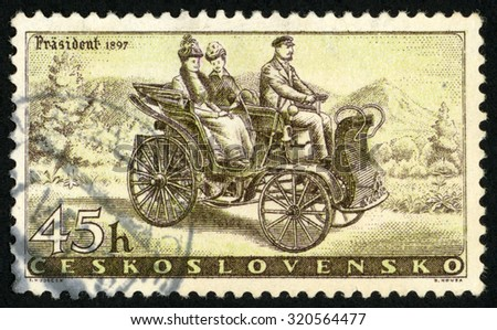 "CZECHOSLOVAKIA - CIRCA 1958: post stamp printed in former Czechoslovakia (Ceskoslovensko) shows vintage ""Prasident"" car of 1897; automobile industry; Scott 891 A357 45h brown yellow; circa 1958 - stock photo"