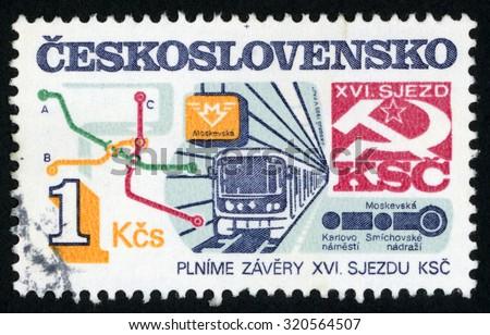 CZECHOSLOVAKIA - CIRCA 1986: post stamp printed in former Czechoslovakia (Ceskoslovensko) shows Prague subway map; 5 year development plan; 16th communist party congress goals; Scott 2577 A919 1k; circa 1986 - stock photo