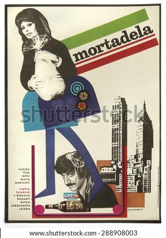CZECHOSLOVAKIA - CIRCA 1973: poster printed in Czechoslovakia - Czech art design of Jiri Kubicek for italian movie La Mortadella - Lady Liberty with Sophia Loren, director - Mario Monicelli, 1971  - stock photo