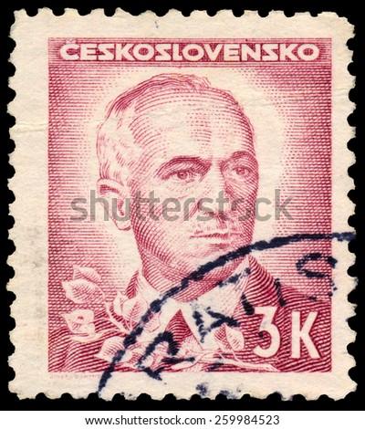 CZECHOSLOVAKIA - CIRCA 1945: stamp printed by Czechoslovakia, shows Benes, circa 1945 - stock photo