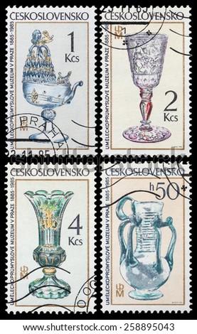 CZECHOSLOVAKIA - CIRCA 1985: stamp printed by Czechoslovakia, shows Bohemian goblet, circa 1985 - stock photo