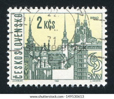 CZECHOSLOVAKIA - CIRCA 1965: stamp printed by Czechoslovakia, shows Brno, circa 1965 - stock photo