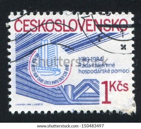 CZECHOSLOVAKIA - CIRCA 1984: stamp printed by Czechoslovakia, shows COMECON Headquarters, Moscow, circa 1984 - stock photo