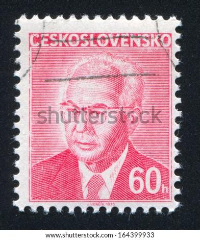 CZECHOSLOVAKIA - CIRCA 1983: stamp printed by Czechoslovakia, shows Gustav Husak, circa 1983 - stock photo