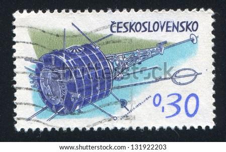 CZECHOSLOVAKIA - CIRCA 1973: stamp printed by Czechoslovakia, shows 'Intercosmos' station, circa 1973 - stock photo
