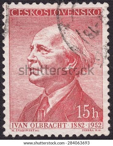 CZECHOSLOVAKIA - CIRCA 1952:stamp printed by Czechoslovakia , shows Ivan Olbracht-Czech writer, publicist, journalist, circa 1952 - stock photo