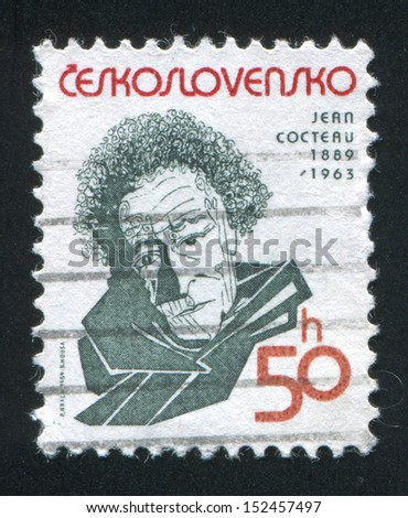 CZECHOSLOVAKIA - CIRCA 1989: stamp printed by Czechoslovakia, shows Jean Cocteau, circa 1989 - stock photo