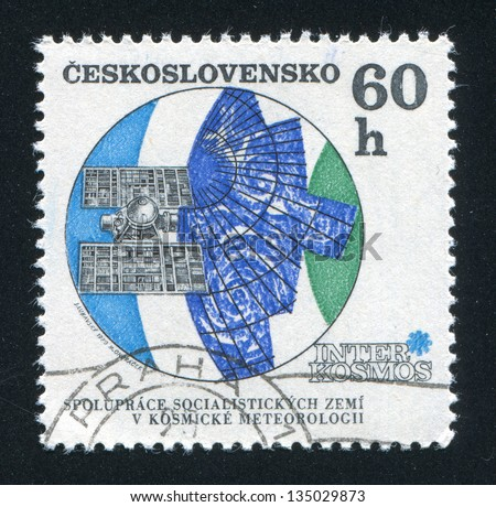 CZECHOSLOVAKIA - CIRCA 1970: stamp printed by Czechoslovakia, shows Molniya meteorological satellite, circa 1970 - stock photo