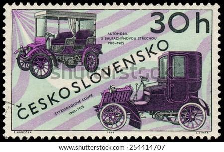 CZECHOSLOVAKIA - CIRCA 1969: Stamp printed by Czechoslovakia shows old cars, circa 1969 - stock photo